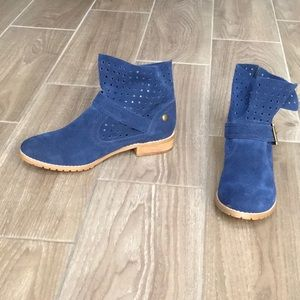 RESTRICTED Cobalt Blue Suede Booties